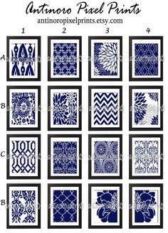 Navy White Damask Floral Wall  Art Prints -Pick Any (4) Prints, Any Color - 8x10 Prints - Custom Colors Sizes Available (UNFRAMED)