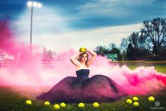 Amazing senior girl portrait on softball field in prom dress and smoke Senior Softball, Softball Senior Pictures, Unique Senior Pictures, Country Senior Pictures, Girls Softball, Team Pictures, Sports Pictures, Senior Girls, Volleyball Drills