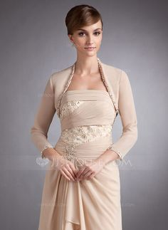 3/4-Length Sleeve Chiffon Special Occasion Wrap (013012350) - JJsHouse