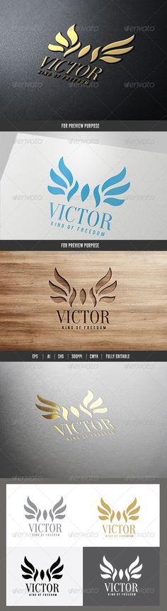 Victor King of Freedom Logo — Vector EPS #wing #complete • Available here → https://graphicriver.net/item/victor-king-of-freedom-logo/6584456?ref=pxcr