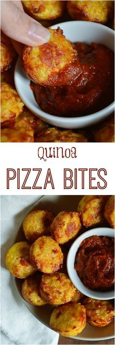 Gluten Free Quinoa Pizza Bites Recipe - This healthy pizza alternative has all the flavor of a cheesy pepperoni pizza without the guilt. This appetizer is best served with pizza sauce dip. (meals with eggs vegan recipes) Quinoa Pizza Bites, Fingers Food, Vegetarian Recipes, Cooking Recipes, Healthy Recipes, Free Recipes, Simple Recipes, Quinoa Dinner Recipes, Recipes With Quinoa