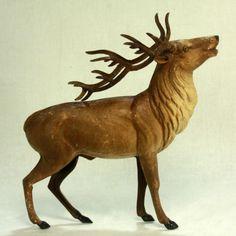 Antique Huge German Dresden Reindeer C1910   eBay