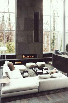 minimal stone fireplace