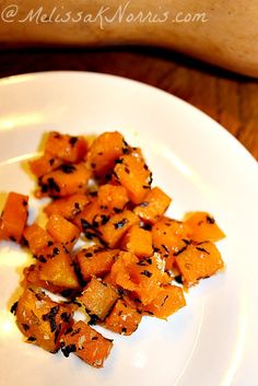Roasted Garlic and Herb Butternut Squash | www.MelissaKNorris.com.  Super simple recipe, but delicious, and healthy. Even the kids love this one.