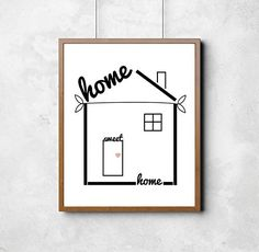"""'Home Sweet Home' Print. Housewarming gift, stylish home decor, wall art, print. Home, sweet home. How wonderful it is to walk through the door after a long day, and feel the warmth and love that comes from being in a cozy home. Beautiful high quality print on uncoated linen 300 gsm or higher card*. Prints are packed in protective plastic sleeves. *We have to mention - frame and surrounding furniture not included. This listing is for a standard 8""""x10"""" print. Please send us a note if you'd..."""
