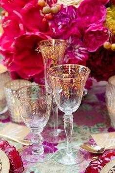 Gorgeous Gold Floral Lace Stemware