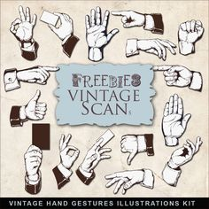 Vintage Hand Gestures Illustrations Kit from Far Far Hill
