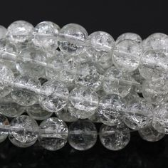 5 CLEAR Round Clear Crackle Art Crystal Glass by BeadsNThingsPlus
