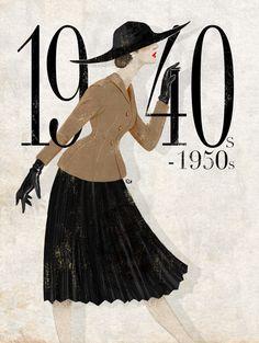 Esse foi um período difícil. As mulheres tiveram que trabalhar nas indústrias enquanto seus maridos estavam na guerra. As roupas tinham que ser de tecidos alternativos e baratos e ainda focadas na funcionalidade e feminilidade.
