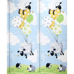 Lewe's Balloons Lewe Growth Chart Blue from @fabricdotcom  Designed by Susybee for Hamil Textiles, this panel is perfect for quilting and home decor accents.  Colors include black, white, blue, grey, green and yellow.  This panel measures approximately 35.5 x 44''.  You will receive two growth charts per panel.