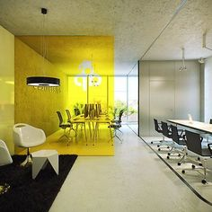 Add that perfect splash of colour with vinly on your meeting room glass Commercial Interior Design, Office Interior Design, Commercial Interiors, Office Designs, Open Office, Cool Office, We Work Office, Bright Office, Yellow Office