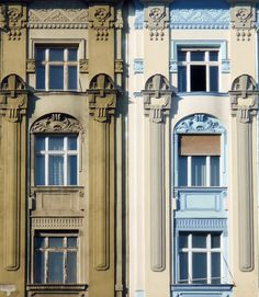 Twins with different identities :) https://flic.kr/p/atqqJo | Untitled | Double. Budapest, Nouveau/Déco detail. A typical example of transition from late Art Nouveau (kind of geometrical motifs) to Art Déco.
