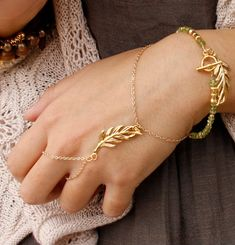 Slave bracelet  Gold leaf hand chain bracelet  Gold by Oyeloria, $45.00