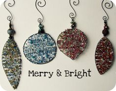 I like the idea of creating a shape with wire (could be ANY shape) and filling in with beads for an ornament or pendant or other decoration - tutorial from Art Bead Scene - jewelry bits & bling (also could be handmade Christmas ornaments)