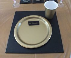 Gold paper cup u0026 plate with black handmade card saying Eid Mubarak. & Table setting. Gold plastic table sheet purchased from ebay black ...