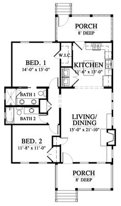 Beaufort River Cottage House Plan Design from Allison Ramsey Architects Small Modern House Plans, Small Cottage House Plans, Porch House Plans, Cottage Floor Plans, Basement House Plans, Bungalow House Plans, Craftsman Style House Plans, Tiny House, Simple Floor Plans