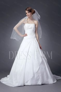 Concise Strapless A-line Sweeping Nancy's Plus Size Wedding Dresses FQ31224