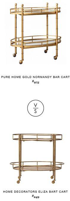 @purehome Gold Normandy Bar Cart $975 vs @homedecorators Eliza Bart Cart $249