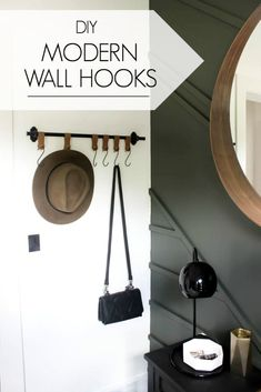 Make your own modern entry wall hooks with this simple tutorial! Learn how to cut leather on the Cricut machine and make beautiful entryway home decor! LOVE this DIY leather idea! Wall Shelf With Hooks, Modern Wall Hooks, Diy Wall Hooks, Wall Shelves, Diy Coat Rack, Rustic Coat Rack, Coat Racks, Diy Wall Art, Diy Wall Decor