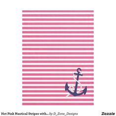 #Hot #Pink #Nautical #Stripes #Navy #Blue #Anchor #Pattern #Fleece #Blanket