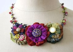 Festive Colorful Statement Bib Necklace Fabric Flowers in Fushia, Blue, Red