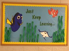 Library bulletin board 2016-17 back to school Library displays Finding Dory bulletin board