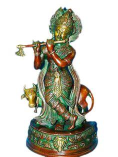 Krishna Statue Brass Vintage Handmade Hindu God by MOGULGALLERY, $285.00