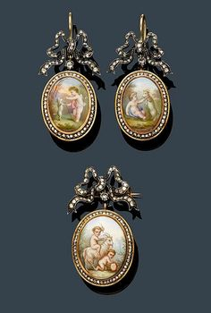 MINIATURE DIAMOND EAR PENDANTS WITH BROOCH, ca. 1890. Silver over pink gold. Charming ear pendants with hooks, each of 1 oval polychrome porcelain miniature featuring a putto playing with a goat and with a dog, respectively, the frame set throughout with rose-cut diamonds and flexibly mounted on 1 diamond-set bow motif.    - by Koller Auctions