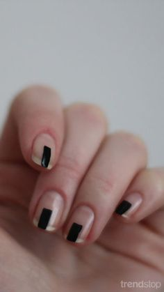 Minimalist Manicure - have something similar on my nails now (nude base with a blue uneven stripe in the middle)