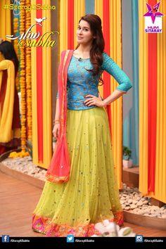 Pakistani/Indian blue and yellow bridal lehenga Half Saree Designs, Sari Blouse Designs, Choli Designs, Lehenga Designs, Lengha Design, Dress Designs, Half Saree Lehenga, Bridal Lehenga Choli, Ghagra Choli