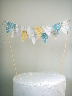 Cake Bunting Cake topper grey, yellow, aqua, white Baby Shower, Birthday, Wedding. $20.00, via Etsy.