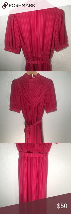 Vintage Pink Stripe dress Awesome vintage hot pink midi dress with thin stripes. Has a really cool bandana front neckline. Vintage Dresses Midi