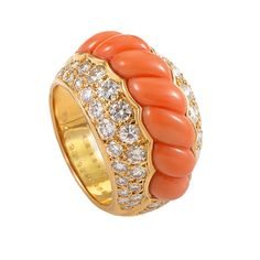 Boucheron Coral Diamond Gold Ring | From a unique collection of vintage band rings at https://www.1stdibs.com/jewelry/rings/band-rings/