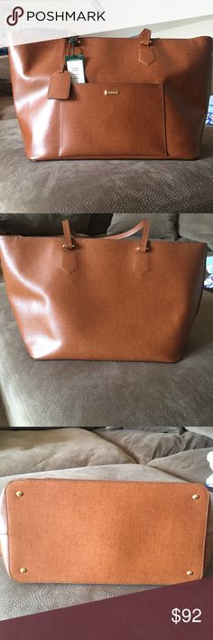 Authentic Ralph Lauren leather tote Roomy interior makes this saffiano leather tote from Lauren Ralph Lauren. Perfect for carrying all essentials while sleek polished hardware adds a refined touch.  **tan color **two top handles **top zip closure **LRL cut out plaque **front exterior pocket **reinforced based with 4 protective metal feet 🚫no trades, paypal, or lowball offers. Lauren Ralph Lauren Bags Totes