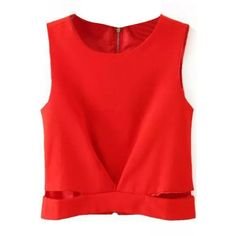 LUCLUC Red Hollow-out Zipper-back T-shirt (1,025 INR) ❤ liked on Polyvore featuring tops, t-shirts, red top, red t shirt, red tee and zipper back top