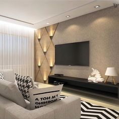 Wall Ideas Living Room 80 Amazing Living Room Tv Wall Decor Ideas and Remodel Tv Wall Design, Design Case, Box Design, Living Room Theaters, Home Theaters, Modern Tv Wall Units, Tv Wall Decor, Wall Decorations, Wall Tv