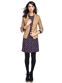 Henley printed dress and leather blazer from Gap
