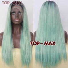 Amazing 22 Inches Black Mixed Light Green Hair Heat Resistant Lace Front Wig