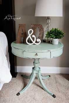 Large Drum Table Chalk Painted in a light aqua! Shabby Chic Decor. #shabbychicdresserscolors