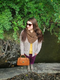 Four Season Fabulous: First Day of Fall: Mustard, Plum Cords, Leopard scarf, Knit Cardigan, Taupe Booties