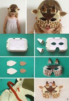 Afocal Bretagne. Un masque de girafe avec des boîtes d'œufs. Pensez à tester votre activité en amont !