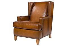 "Bradley Wing Chair on OneKingsLane.com | 2,130.00 retail | 31""w x 36""d x 38""h x 20"" seat ht."