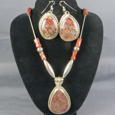 Love this set! We actually collected the rock years ago here in Arizona and created this beautiful set! Great price for this one of a kind Sterling Silver set! Check it out!
