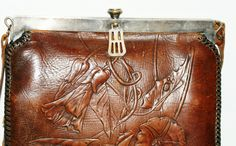 Antique Edwardian Era Tooled Leather Purse by Nocona Bags | eBay