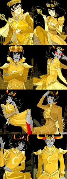 Prospit dreamers | Does Gamzee have a tiara instead of a crown? Yes he does. In other news, Karkat looks so sexy pissed off like that