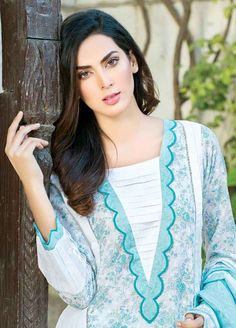 Five Star Printed Lawn Unstitched 3 Piece Suit – Spring / Summer Collection Neck Designs For Suits, Sleeves Designs For Dresses, Neckline Designs, Dress Neck Designs, Stylish Kurtis Design, Stylish Dress Designs, Simple Pakistani Dresses, Pakistani Dress Design, Kurti Designs Party Wear