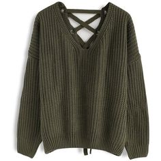Chicwish Focus on Lace-up Back Sweater in Army Green (€34) ❤ liked on Polyvore featuring tops, sweaters, green, lace up front sweater, laced tops, olive green sweater, green top and olive top