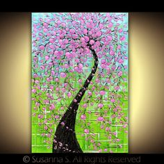 Pink cherry blossoms tree on green turquoise by Susanna S.