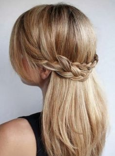 Go for a classic hairstyle + give yourself a half-up crown braid 'do.