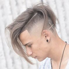 Undercut + Shape Up + Long Messy Comb Over + Cross Design